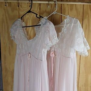 Vintage peignoir baby pink set